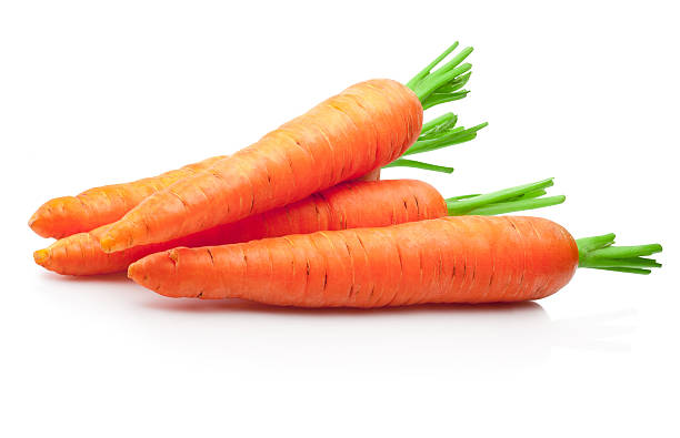 fresh carrots isolated on white background - 紅蘿蔔 個照片及圖片檔