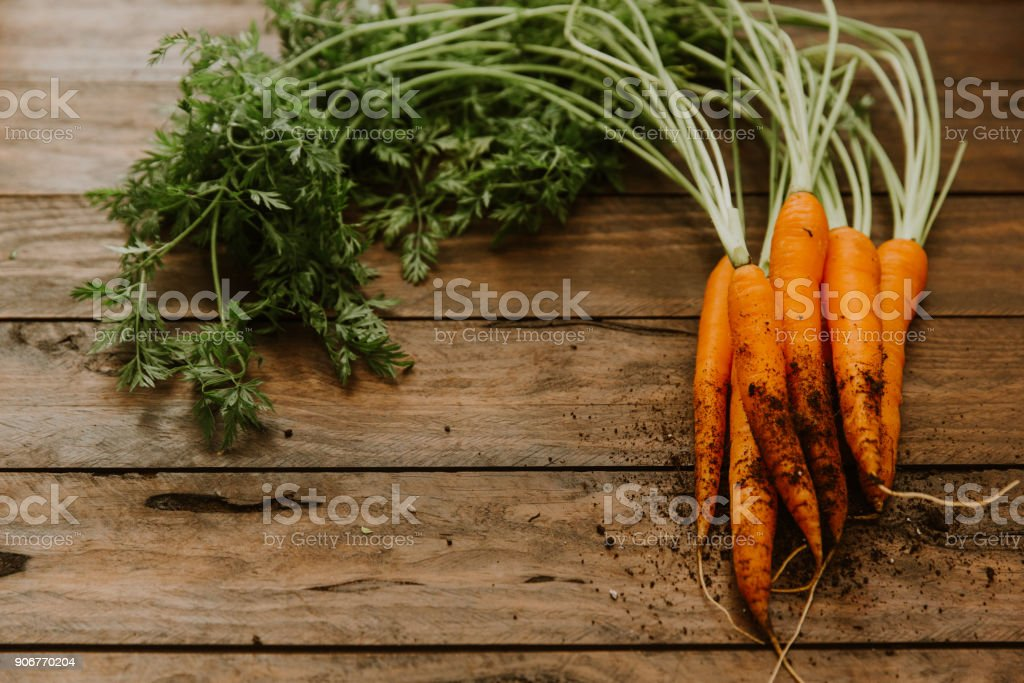 Fresh carrots on wooden table stock photo