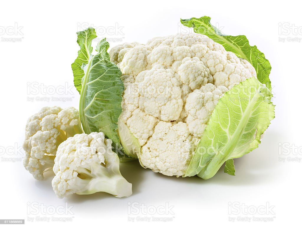 Fresh cauliflower with pieces isolated on white stock photo