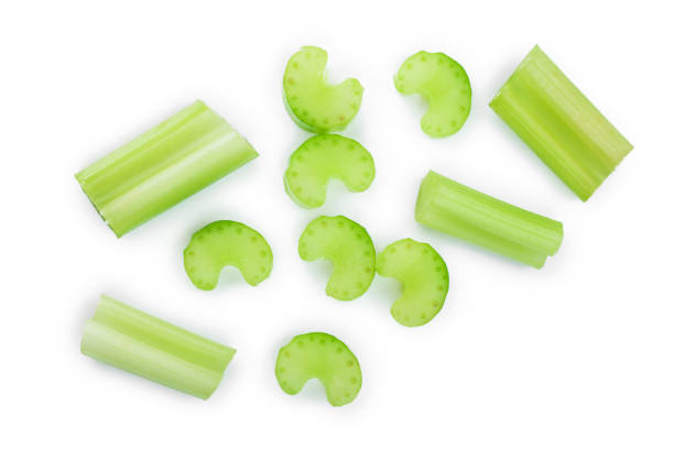 fresh celery isolated on white background.Top view. Flat lay fresh celery isolated on white background.Top view. Flat lay. celery stock pictures, royalty-free photos & images