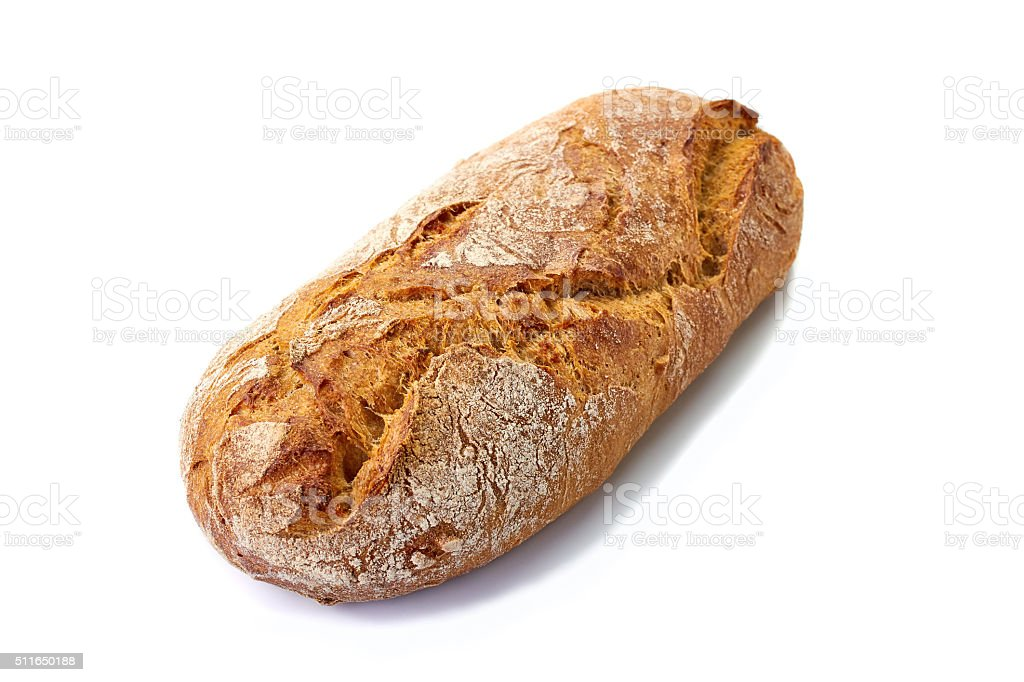 Fresh cereal bread loaf on white stock photo