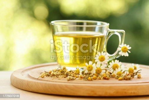 Chamomile tea with dry and fresh chamomile
