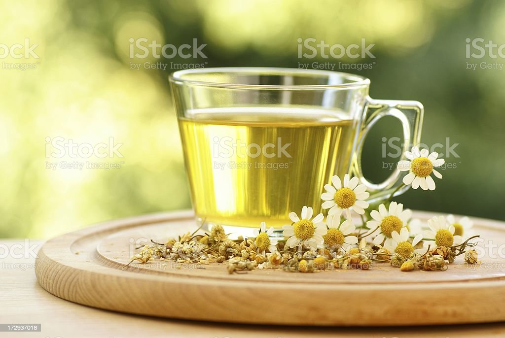 Fresh chamomile tea stock photo