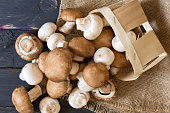 Fresh champignons mushrooms. View from above. Top view on mushrooms.