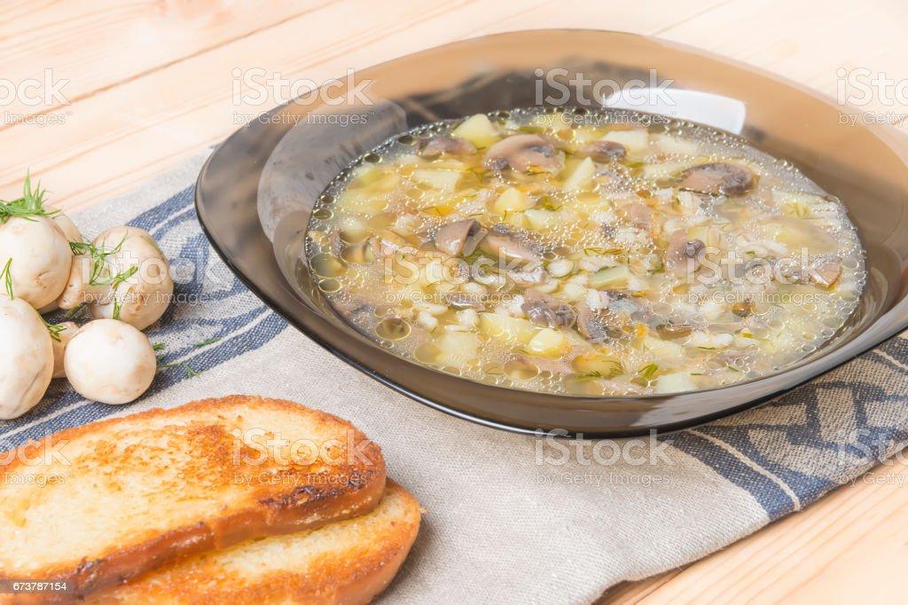 taze petrol çorbası tost ve taze yeşillik içinde ev koşulları yapılan royalty-free stock photo