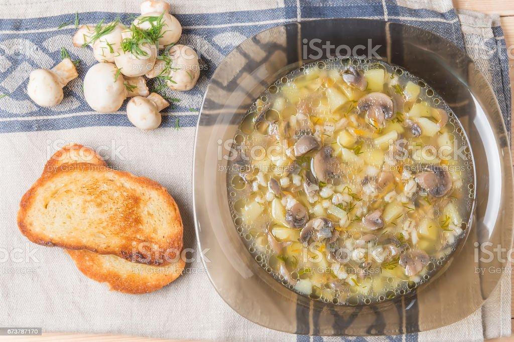soupe de champignons frais avec des toasts et des légumes verts frais faite dans les conditions domestiques photo libre de droits