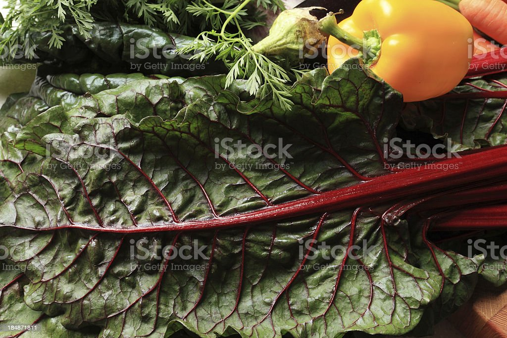 fresh chard and yellow pepper royalty-free stock photo