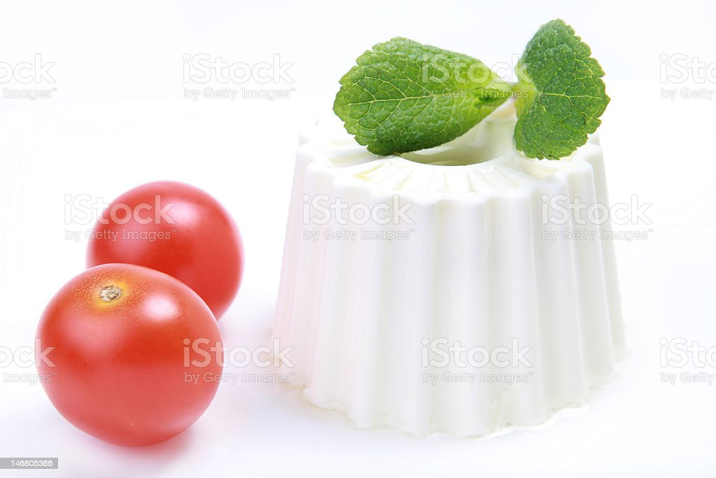 Fresh cheese and cherry tomatoes stock photo