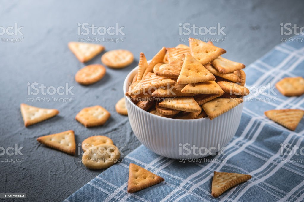 Fresh Cheese Cracker Biscuits Stock Photo - Download Image Now