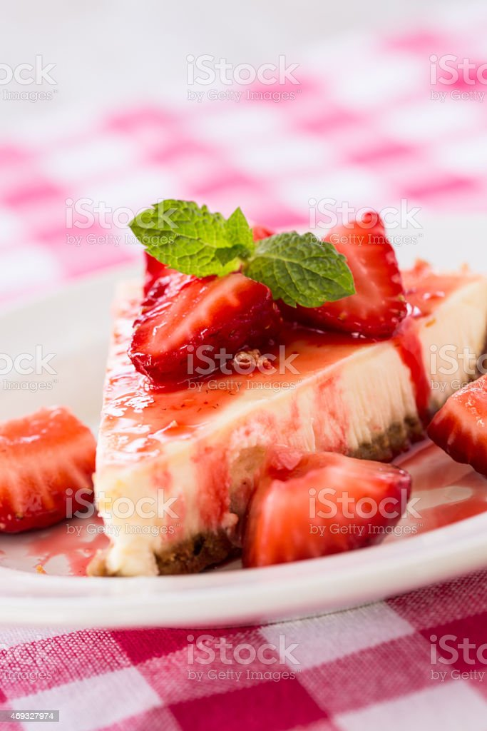 Fresh Cheesecake Slice With Strawberries and Mint Leaf stock photo