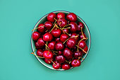 istock Fresh cherries in a bowl on green background. Healthy food concept 1160535764