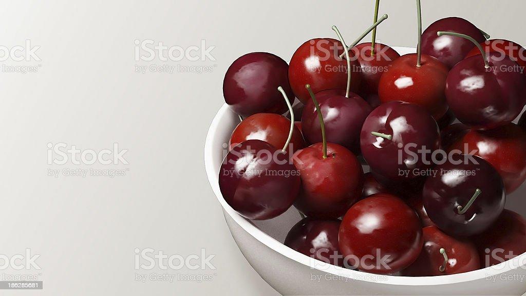 fresh cherries with white background stock photo