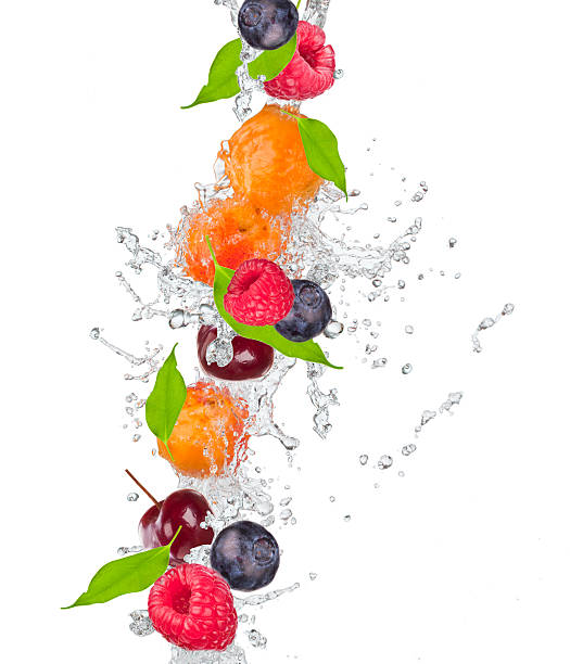 Fresh cherry in water splash stock photo