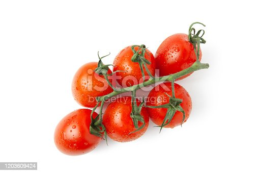 Fresh cherry red tomatoes on sprig with small shadow isolated on white background. Macro, flat lay. Horizontal, close-up. Healthy eating product.