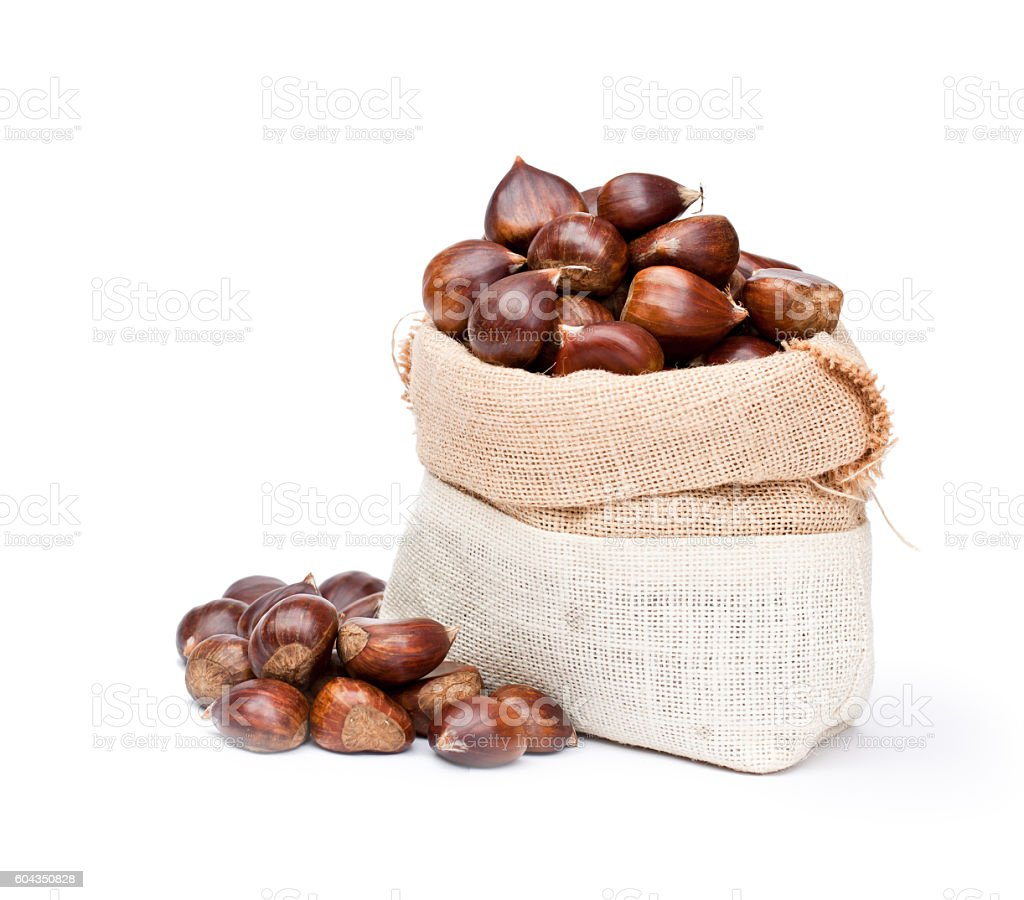 fresh  chestnuts in sack bag on white background stock photo