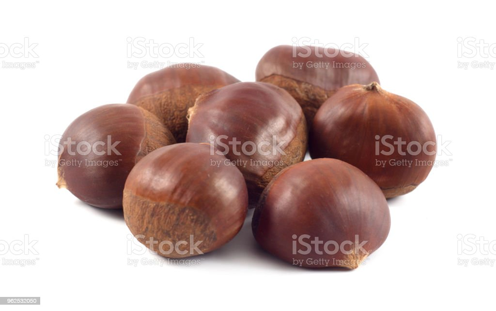 Fresh chestnuts isolated on white - Royalty-free Autumn Stock Photo