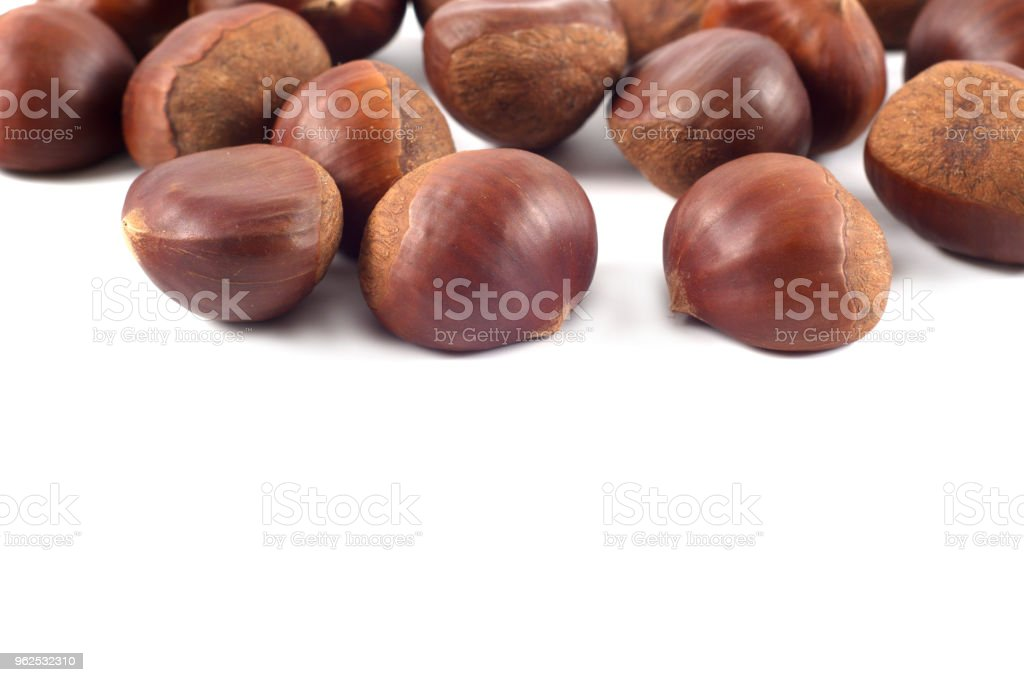 Fresh chestnuts isolated on white - Royalty-free Autumn Stock Photo