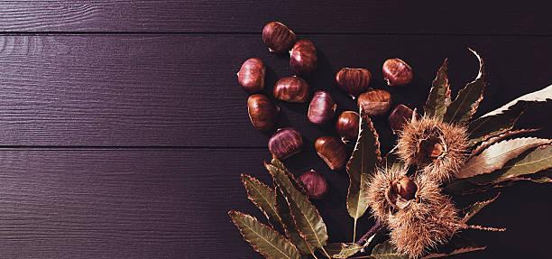 fresh chestnuts stock photo
