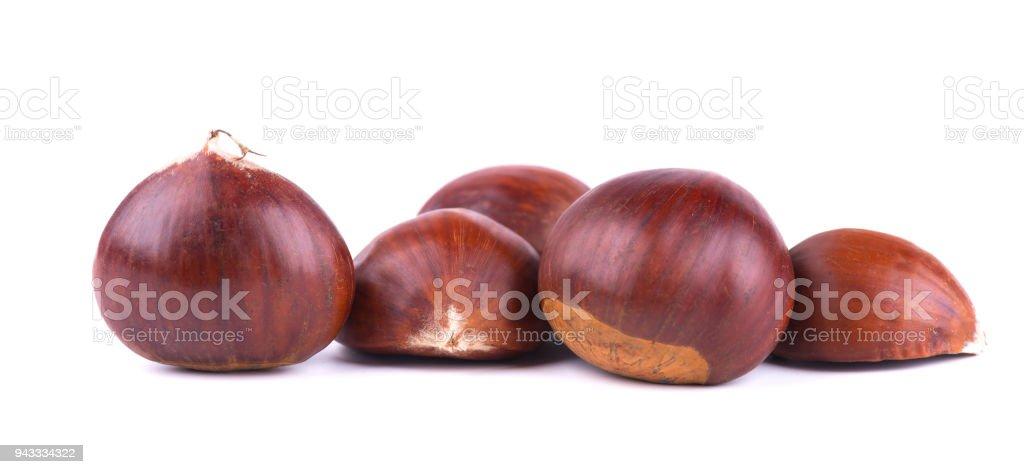 Fresh chestnuts with peeled roasted chestnut isolated on white background. Hippocastanum isolated. Isolated chestnut set stock photo