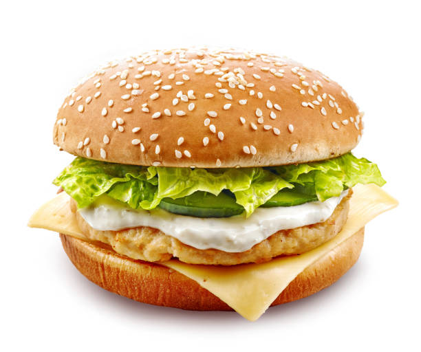 beyaz izole taze tavuk burger - burger and chicken stok fotoğraflar ve resimler