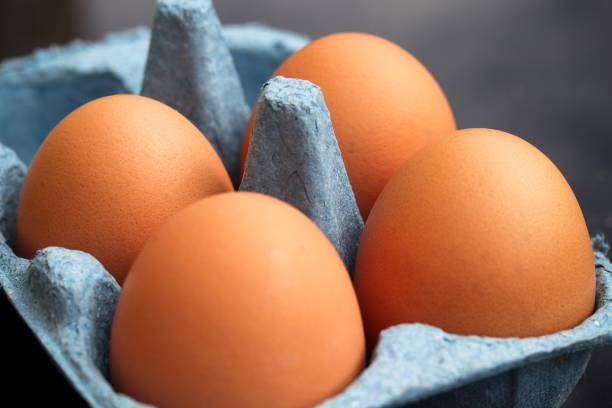 Fresh chicken eggs stock photo