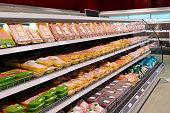 Fresh chicken meat on supermarket shelf, all logos removed