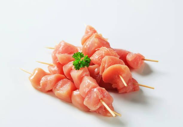 Fresh chicken skewers stock photo