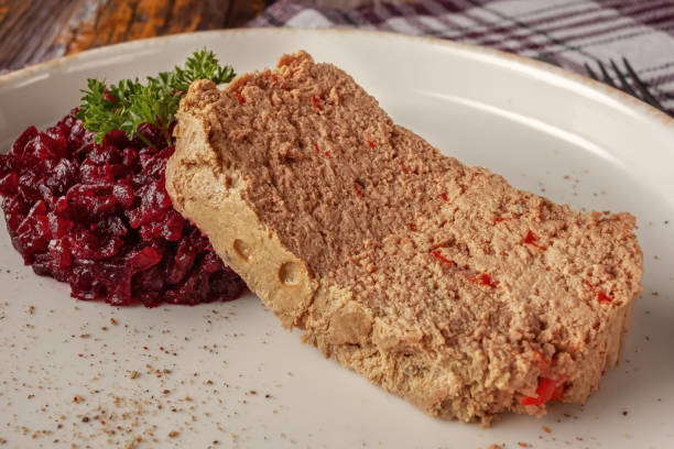 fresh chicken terrine with beetroot confiture and parsley on a platter - confiture tomatoes imagens e fotografias de stock