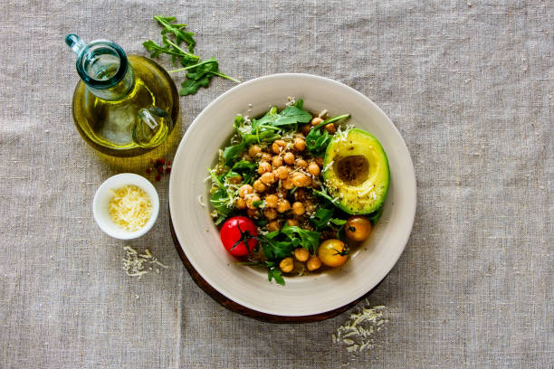 Fresh chickpeas salad stock photo