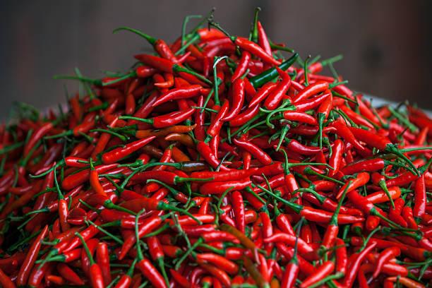 Fresh chili on the market stock photo