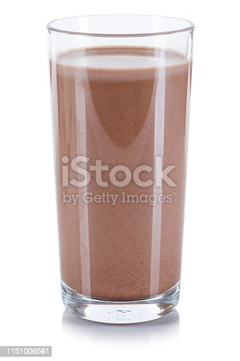 Fresh chocolate drink milk glass isolated on a white background