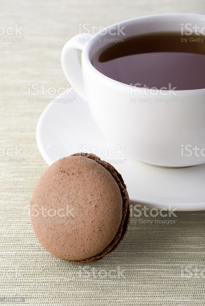 Fresh chocolate macarons royalty-free stock photo