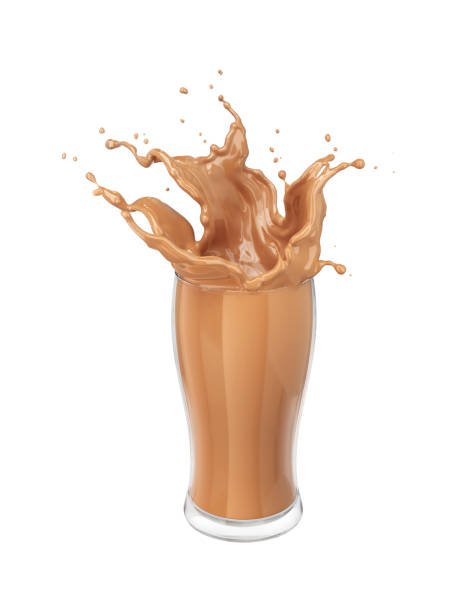 Fresh chocolate Splash in the glass Fresh chocolate Splash in the glass,pouring chocolate milk splash isolated on white background with clipping path,3d rendering. chocolate milk stock pictures, royalty-free photos & images