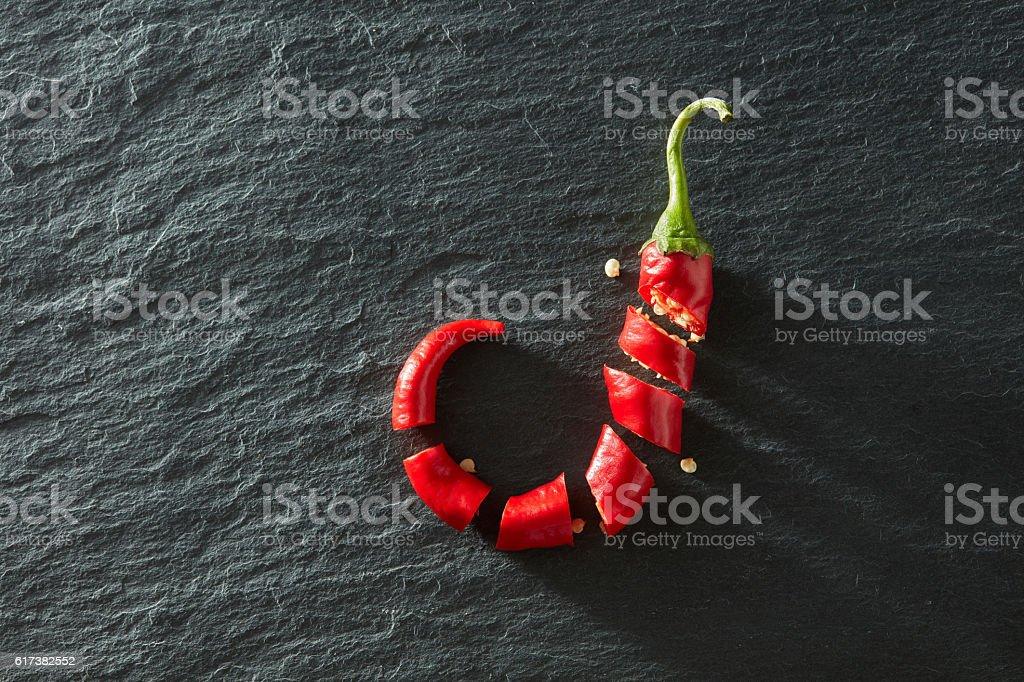 Fresh chopped red chili stock photo