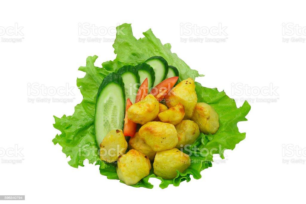 Fresh Chopped vegetables on green leaf lettuce Lizenzfreies stock-foto