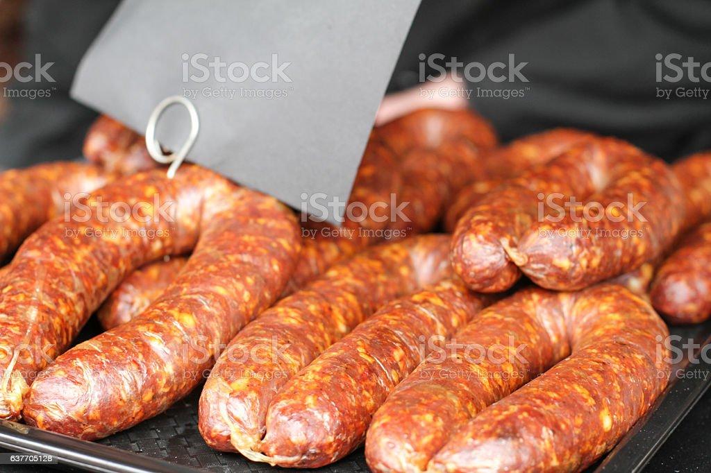Fresh Chorizo Sousage stock photo