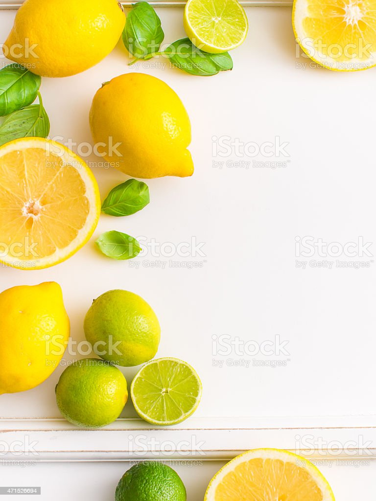 Fresh citrus fruits isolated on white background. View from top. stock photo