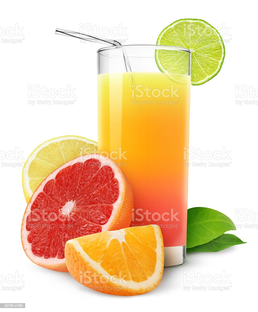 Fresh citrus juice isolated on white stock photo