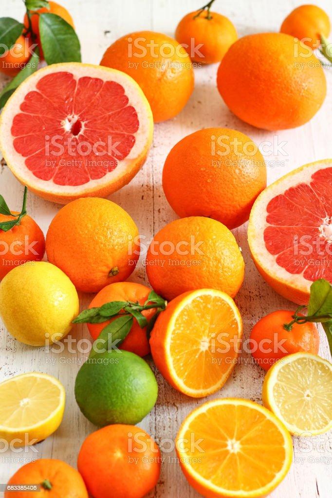 Fresh Citrus Juice Orange Lemon Lime Grapefruit stock photo