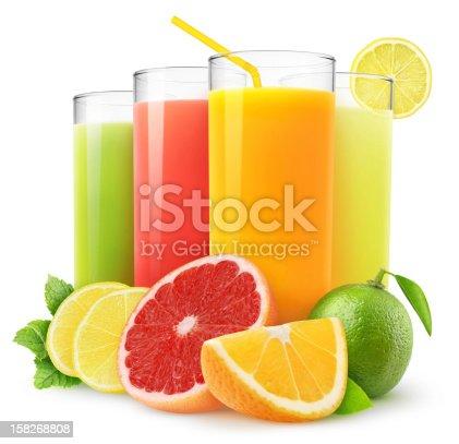 Fresh citrus juices isolated on white.