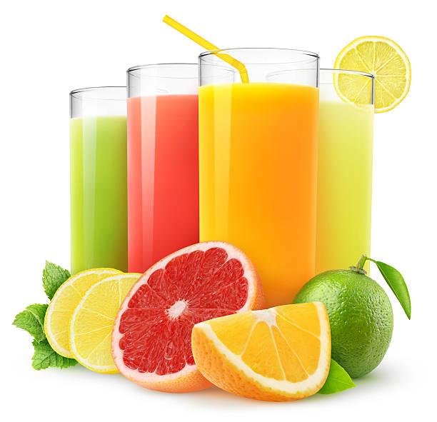 fresh citrus juices - sapjes stockfoto's en -beelden