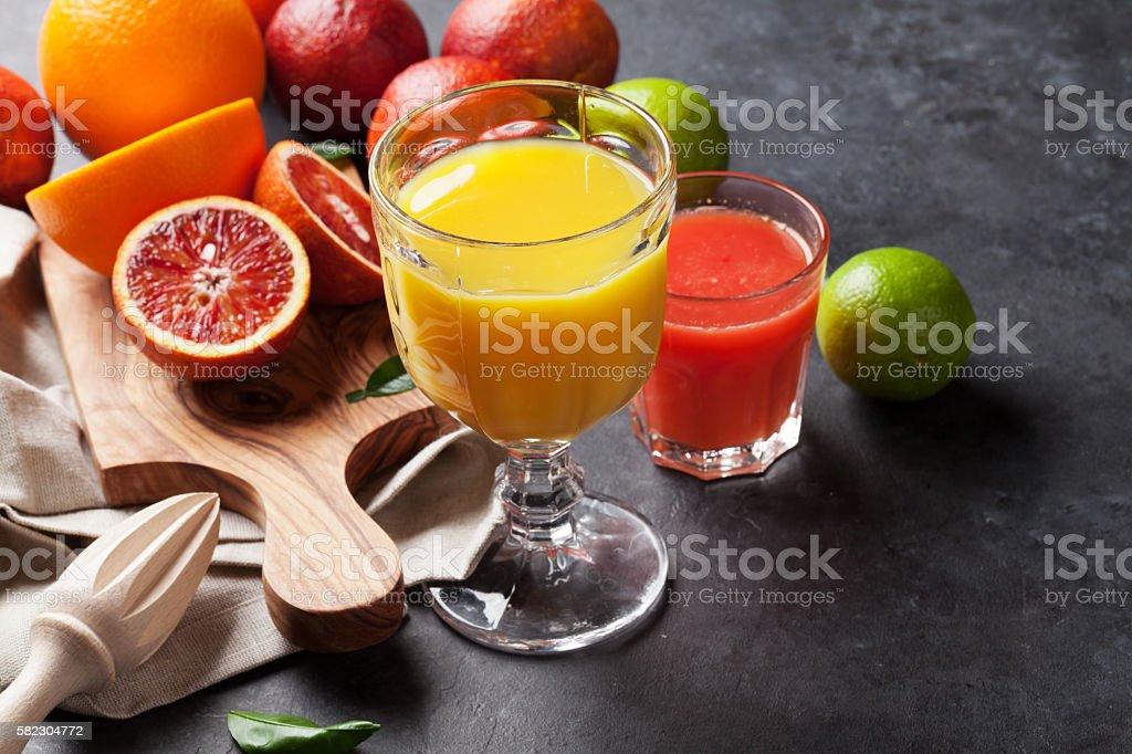 Fresh citruses and juice stock photo