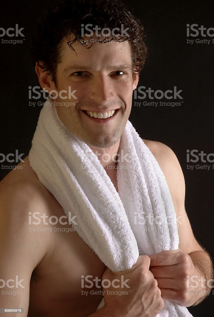 Fresh & Clean MaleToweling off royalty-free stock photo