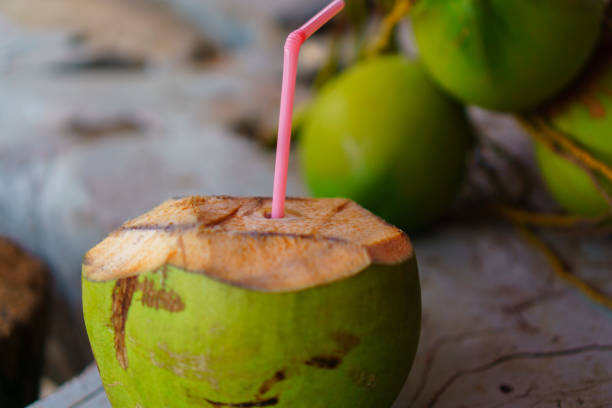 Fresh Coco Gelado Drinking Coconuts Coconut, Thailand, Food, Fruit, Tropical Climate gelado stock pictures, royalty-free photos & images