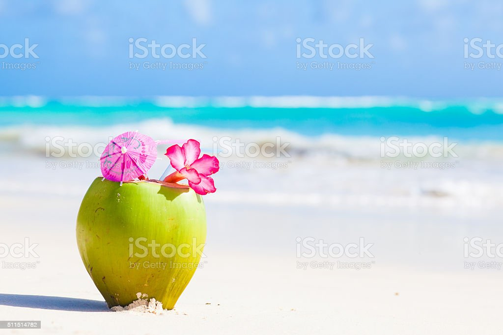 fresh coconut cocktail on tropical beach with flower stock photo