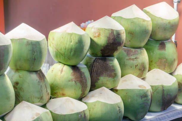 Fresh Coconut Prepare to Drink arranged display on shelf in Market Fresh Food Concept stock photo
