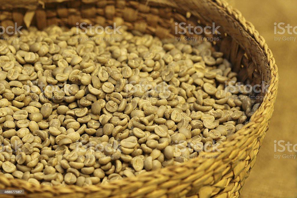 fresh coffee bean in basket royalty-free stock photo
