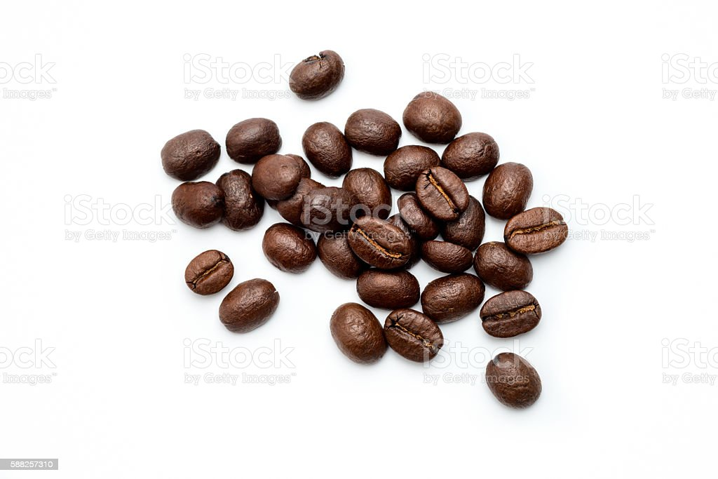 Fresh Coffee Beans, high angle view stock photo