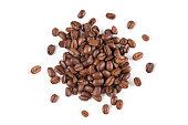 Fresh coffee beans on white paper background