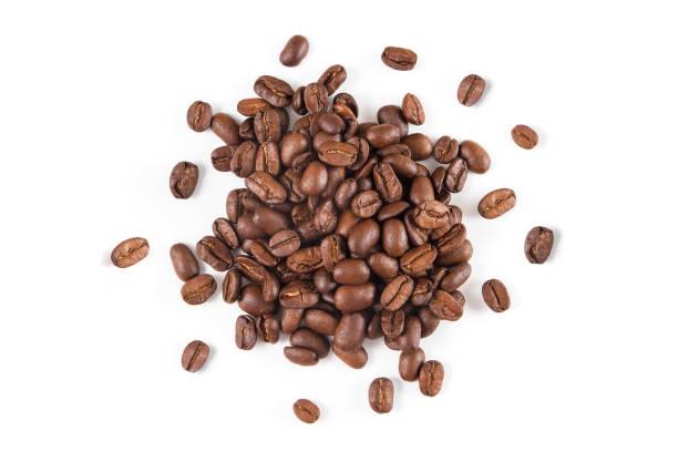 Fresh Coffee Beans on White Background stock photo